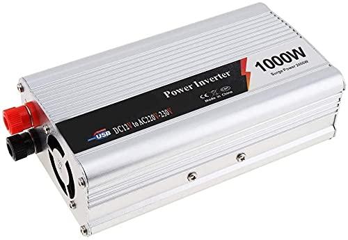 FYLJ Inversor de Potencia de automóvil 1000W 12V a 220V Convertidor con enchufes USB Adaptador de automóvil con inversores de Pantalla LED para automóvil, Caravana, Barco, Camping, Viajes, hogar