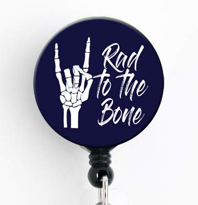 Rad to The Bone - Retractable Badge Reel with Swivel Clip and Extra-Long 34 inch Cord - Badge Holder/Radiology/Radiologist/RRT