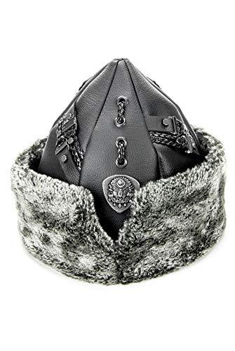 Miss Tesettür Sombrero turco otomano Bork, Dirilis Ertugrul - Gorra de invierno de piel con escudo otomano, piel gris y piel negra