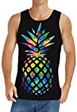 TUONROAD Black Pineapple Sleeveless Shirts for Men Tropical Fruit Tank Tops Boys Big and Tall Athletic Bodybuilding Tees Dad Home Gym Workout Clothing Music Festival Party, XXL