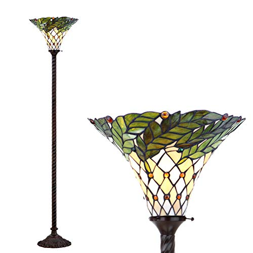 """JONATHAN Y JYL8004A Botanical Style 71"""" Torchiere LED Floor Lamp, Tiffany, Traditional for Bedroom, Living Room, Bronze"""