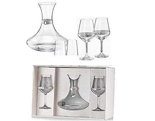 Juego de cristal con decantador para vino de 1 litro + 2 copas Baloon Made in Italy 100 & con placa de plata 925% 6552
