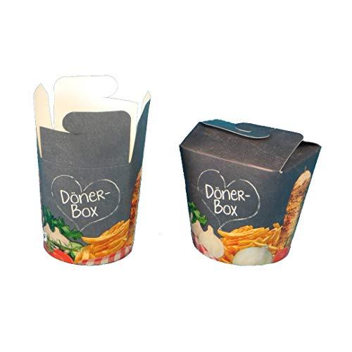 500 Döner to go Snackboxen Dönerbox Pomdöner Box grau mit Neutralmotiv Hartpapier/Pappe mit PE Beschichtung 16oz/500ml oder 26oz/750ml zur Auswahl (16oz ca. 500ml)