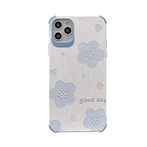 Funda para iPhone X XS XR 11 12 Pro MAX 6 7 8 Plus con diseño de flor azul
