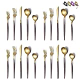 Silverware Set 40 Pieces, Moon Surface Handle And Matte Gold Head Flatware Set, Stainless Steel Cutlery Set, Utensil Sets, Service Set for 8