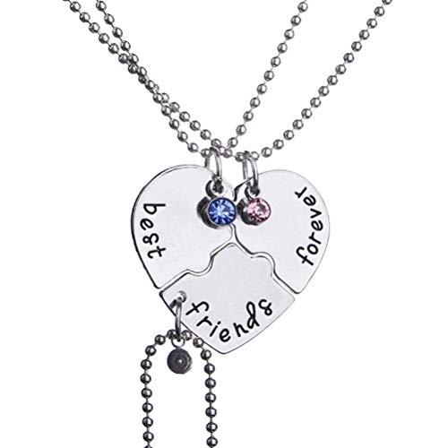 TENDYCOCO Collar Mejores Amigos para Siempre y para Siempre Corazón con Incrustaciones de Cristal Azul Rojo Colgante Collar