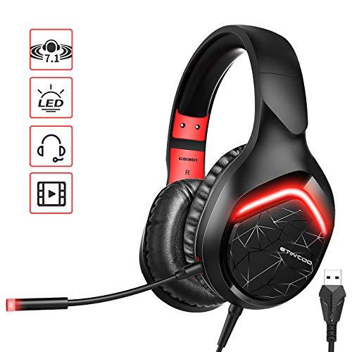 Somic Gaming Headset für PS4, Dual-Mode-Overhead-Kopfhörer mit Mikrofon, LED-Licht für PC-Spiel GS301 (USB-Stecker)