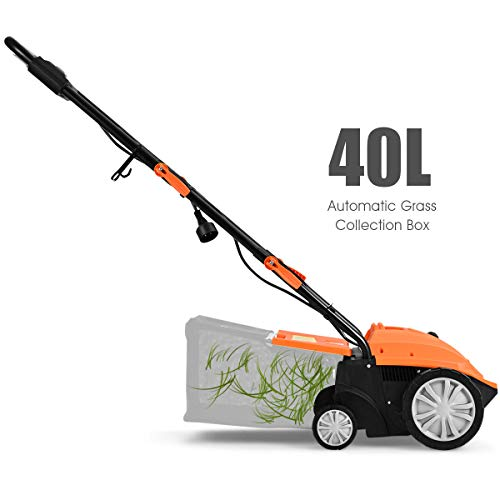 Goplus 2-in-1 Corded Lawn Dethatcher with 4 Cutting Heights 2 Removable Blades 15-Inch 13 Amp Electric Scarifier w// 50L Collection Bag