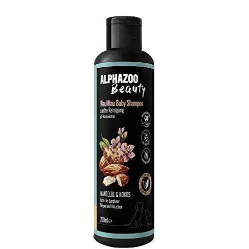 alphazoo WauMiau Baby Shampoo für Junge Hunde & Katzen | Fellpflege mit Mandelöl & Kokos | sanfte & beruhigende Pflege für Haut & Fell | biologisch & vegan, pH-neutral, ohne Parabene & Silikone