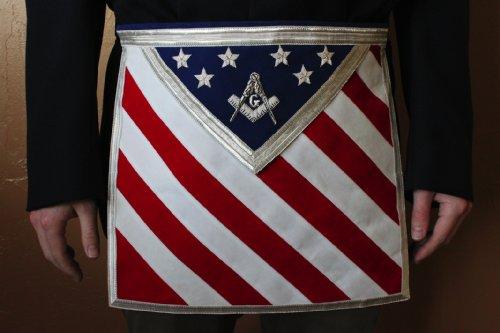 Blue Lodge Square & Compasses Freemason Masonic U.S. Flag Apron