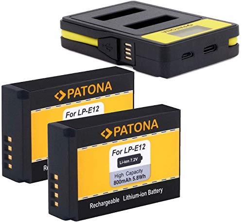 PATONA (2X) Ersatz für Akku Canon LP-E12 mit 141652 Ladegerät (USB/USB-C) - Canon EOS 100D M M10 M50 M100 M200 - PowerShot SX70 HS