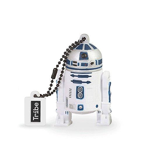 Tribe Disney Star Wars R2F2 - Memoria USB 2.0 de 16 GB Pendrive Flash Drive de goma con llavero, color blanco