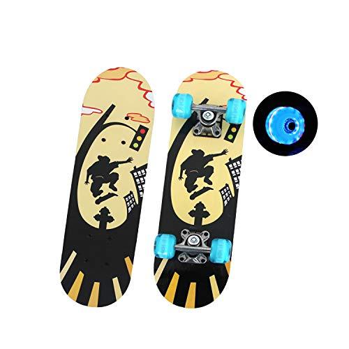 EnjoyFit Skateboard für Kinder 3-10 Jahren, Double Kick Trick Skateboard, Komplettboard mit LED Leucht-Rollen 60 * 15 cm, MAX. Belastbarkeit 50 KG (Street - Skate)