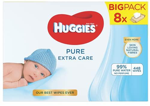 Huggies Pure Extra Care Salviette Umidificate per Bambini, Confezione da 8 da 56 Pezzi