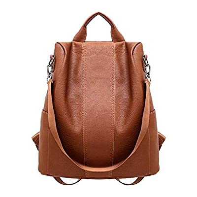 Crazyshion Womens Anti-Theft Backpack Bag Casual Wild Soft Leather Dual-use Zipper Small Backpack Brown