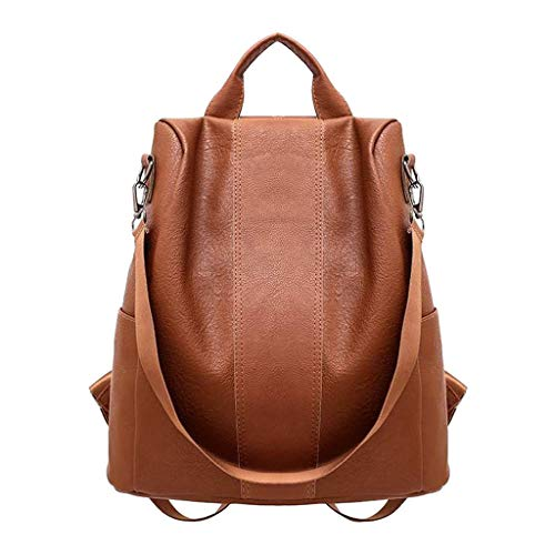 Woman Anti-Theft Backpack Bag Casual Wild Soft Leather Dual-use Small Backpack (Brown)