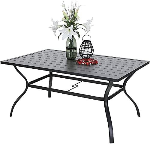 """PHI VILLA Outdoor Patio 60"""" x 38"""" Rectangle Dining Table for 6-8 Person with Umbrella Hole, Classic Black"""