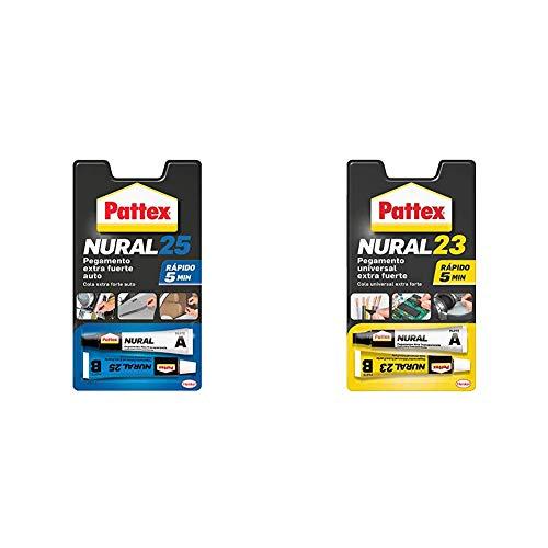 Pattex Nural 25 Pegamento extra fuerte auto, adhesivo resistente para la mayoría de materiales del automóvil + Nural 23 Pegamento universal extra fuerte