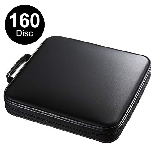 SANWA (Japan Brand) 160 Large Capacity CD Case, Portable DVD/VCD Storage, EVA Protective Blu-ray Wallet, Binder, Holder, Booklet with Attached Handle for Car, Home, Office, Travel (Black)