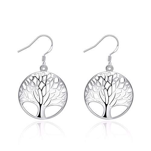 ESCYQ Damen Ohrringe Ohrstecker Ohrhänger Tropfen Ohrlinie Jahrgang Der Baum des Lebens Lange Ohrringe Brillanten Modeschmuck Ohrhänger Für Frauen Geschenk