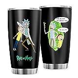 Generica marca Rick And Morty tazze da viaggio tazza da caffè in acciaio inox, regalo per amici per casa, ufficio, scuola all'aperto, 600 ml, bianco