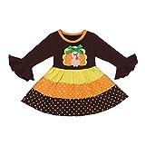 Cuteelf Mädchen Kleid Thanksgiving Kinder Türkei Welle Punkt Trompete Ärmel Langarm Kleid Regenbogen Prinzessin Kleid türkische Top Polka Dot Rock Ballett Rock Prinzessin Kleidung