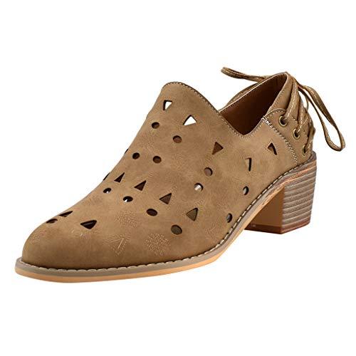 Damen Plateau Shorts Ankle Stiefel Chunky Heels Boots Aushöhlen Bequeme Schuhe Vintage Stiefeletten für Damen Sommer Frühling Herbst, Inawayls