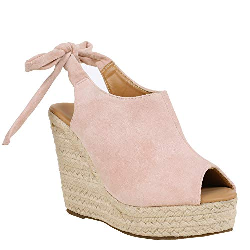 Runcati Womens Espadrille Wedge Peep Toe Sandals Tie Up Summer Ankle Platform Shoes Slingback Dress Sandal