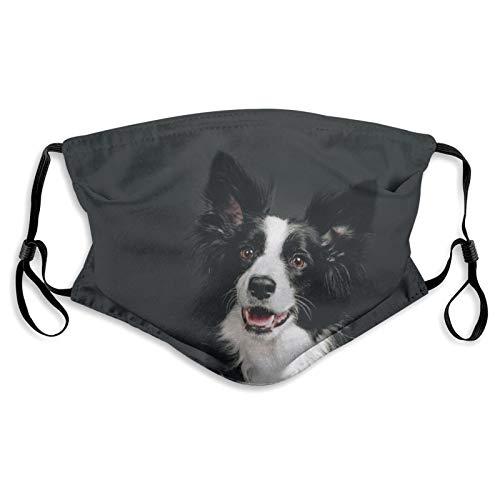 Junge Border Collie Hund l?chelnd Happy Earloop Gesicht Anti Staub Gesicht Mund Maske mit Filter und Nasenclip f¨¹r M?nner & Frauen