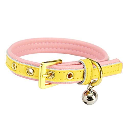 Halsbanden wandelen met de hond dierbenodigdheden hondenhalsbanden katjes kleine hond klokjes leren halsbanden zacht comfortabel kluis 38-48 * 2.5cm J