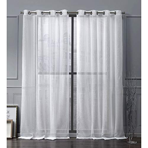 Nicole Miller Iceland Sheer Grommet Top Curtain Panel, White, 54x96, 2 Piece