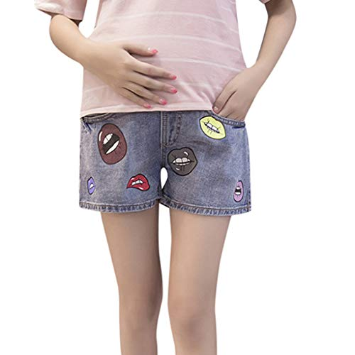 Vaqueros Premaman ajustables, cintura alta, pantalones, cortos, elsticos, pintalabios, pantalones, prenatales, maternidad, premam, mujer, embarazo, maternidad, disfraz, tallas grandes turquesa L
