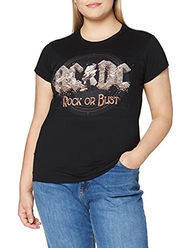AC/DC Rock Or Bust Camiseta, Gris (Black Black), M para Mujer