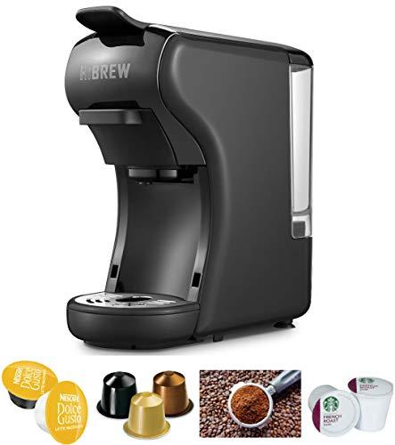 HiBREW 4-in-1 Multi-Function Espresso Dolce Gusto Machine Compatible with Nespresso Capsule, Dolce Gusto Capsule and Ground Coffee, Italian 19 Bar High Pressure Pump, 1450W (Black)