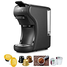 Hibrew 4-in-1 mini- multi function espresso coffee maker dolce gusto machine compatible with nespresso capsule, dolce… 1 3-in-1 multiple function: compatible with nespresso or its clone capsules, dolce gusto or its clone capsules and ground coffee so as to use your own coffee flavor. Premium italian high pressure pump: delivers up to 19 bar pressure to unlock the delicate flavor and premium aromas of each coffee capsule and create an incomparably dense and unctuous crema. Fast heating system and auto power off: about 25 seconds to preheat. 15 minutes stand-by and power off automatically for energy saving.