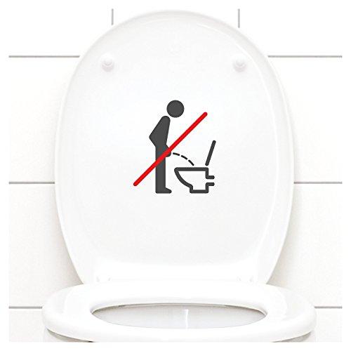 Grandora WC Deckel Sticker - Bitte im Sitzen pinkeln Schild I dunkelgrau 11 x 12 cm I Piktogramm WC Bad Badezimmer Toilette Klodeckel Aufkleber W733