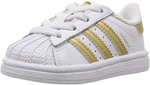 adidas Originals Unisex Superstar C Running Shoe, White/Gold Metallic/Blue, 11.5 M US Little Kid