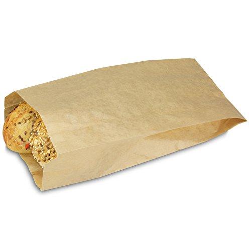 pack2go 1000 Bäckerfaltenbeutel 422, Maße: 14+6x28cm, Bäckertüten Kraftpapier, braun, Brötchenbeutel, umweltfreundlich, Bäckerbeutel, Brötchentüte