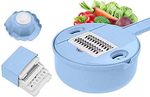 Cortador de verduras Pelador de patatas Zanahoria Cebolla Rallador con colador Utensilio de cocina Gadget para cocinar Preparación-Azul