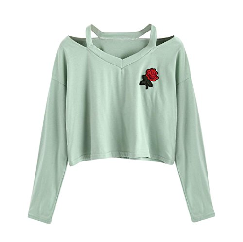 Sweat-Shirt Courte Femme,Covermason Femmes Casual Manches Longues O Neck T-Shirt Imprimé Rose Fille Pull Sweat Tops Blouse (S, Vert)