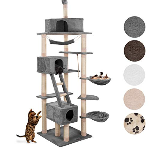 Happypet® kratzbaum Grosse Katzen stabil deckenhoch (CAT015-4) 230-260 cm, großer Kletterbaum Katzenbaum, Dicke Säulen mit Sisal ca. 8 cm, Haus, Liegemulde, Treppe, Spielseil, GRAU