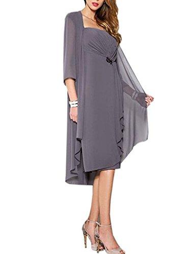HUINI Brautmutter Kleider mit Jacke Wadenlang Chiffon Perlen Hochzeitskleid Abendkleid Ballkleid Festkleider Grau