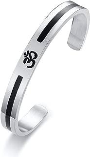 PJ Stainless Steel Buddha Namaste Ohm Om Aum Sanskrit Symbol Cuff Bracelet for Men,Hindu Yoga Jewelry