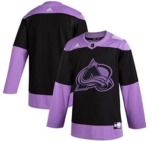 adidas Colorado Avalanche Men's Hockey Fights Cancer Black/Purple Practice Jersey (54/XL)