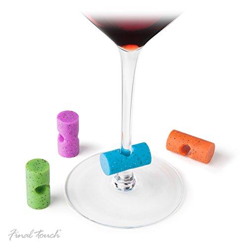 Final Touch Set de 4 Cork Shaped Glass Markers Wine Markers Verre à vin Marqueurs Silicone Ensemble de couleurs mixtes en silicone - parfait pour les fêtes - facilement la tige de verres à vin.