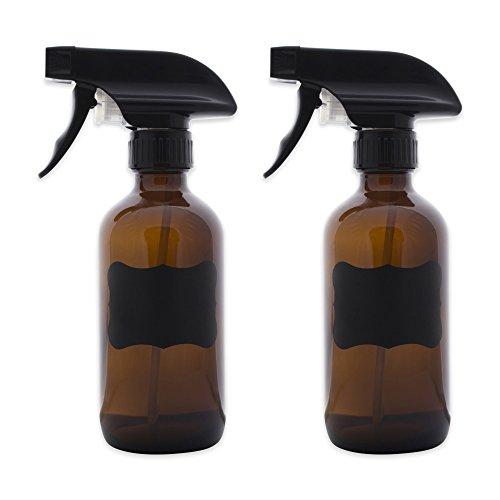 DII Chalkboard Label Refillable Glass Spray Bottle Set, 8 oz, Amber S/2