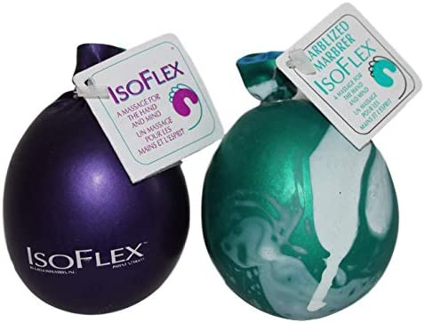 Isoflex Hand Therapy and Exercise Ball with an e Book 2 Pack One Solid Color and One Marblized product image