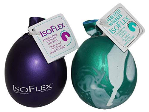 Isoflex Hand Therapy and Exercise Ball with an e-Book. 2 Pack - One Solid Color and One Marblized. Ideal for Stress Relief - Hand and Wrist Exercise for ADD/ADHD - for All Ages (Assorted Colors)