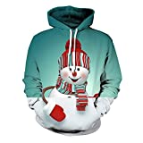 SALEBLOUSE Men's Hoodies 3D Printed Funny Ugly Christmas Sweatshirt Sweater Jumper Long Sleeve Pullover Tops with Pocket Mens Christmas Pullover Oversized Party Blouse Blue