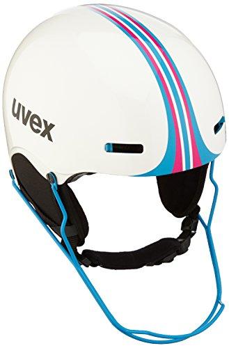 Uvex Erwachsene HLMT 5 Race Skihelm, White-Blue, 52-55 cm